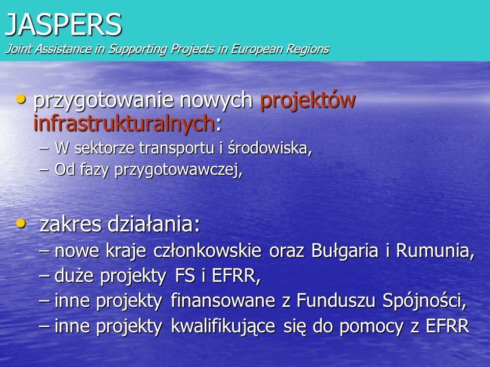 przygotowanie nowych projektów infrastrukturalnych: przygotowanie nowych projektów infrastrukturalnych: –W sektorze transportu i środowiska, –Od fazy przygotowawczej, zakres działania: zakres działania: –nowe kraje członkowskie oraz Bułgaria i Rumunia, –duże projekty FS i EFRR, –inne projekty finansowane z Funduszu Spójności, –inne projekty kwalifikujące się do pomocy z EFRR JASPERS Joint Assistance in Supporting Projects in European Regions