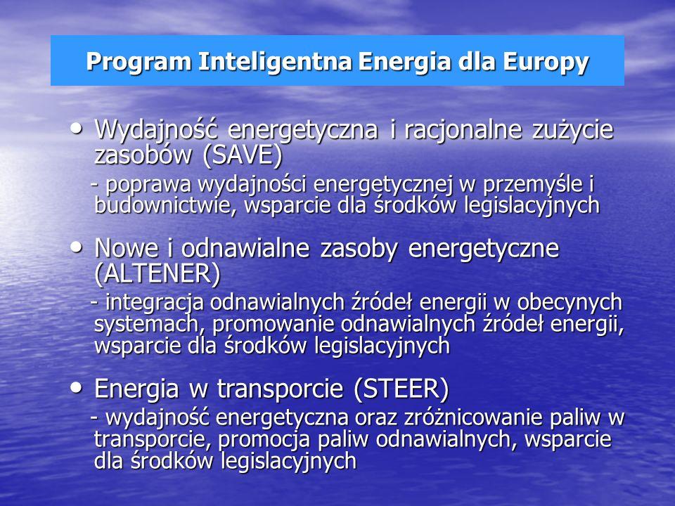 Program Inteligentna Energia dla Europy Wydajność energetyczna i racjonalne zużycie zasobów (SAVE) Wydajność energetyczna i racjonalne zużycie zasobów (SAVE) - poprawa wydajności energetycznej w przemyśle i budownictwie, wsparcie dla środków legislacyjnych - poprawa wydajności energetycznej w przemyśle i budownictwie, wsparcie dla środków legislacyjnych Nowe i odnawialne zasoby energetyczne (ALTENER) Nowe i odnawialne zasoby energetyczne (ALTENER) - integracja odnawialnych źródeł energii w obecynych systemach, promowanie odnawialnych źródeł energii, wsparcie dla środków legislacyjnych - integracja odnawialnych źródeł energii w obecynych systemach, promowanie odnawialnych źródeł energii, wsparcie dla środków legislacyjnych Energia w transporcie (STEER) Energia w transporcie (STEER) - wydajność energetyczna oraz zróżnicowanie paliw w transporcie, promocja paliw odnawialnych, wsparcie dla środków legislacyjnych - wydajność energetyczna oraz zróżnicowanie paliw w transporcie, promocja paliw odnawialnych, wsparcie dla środków legislacyjnych
