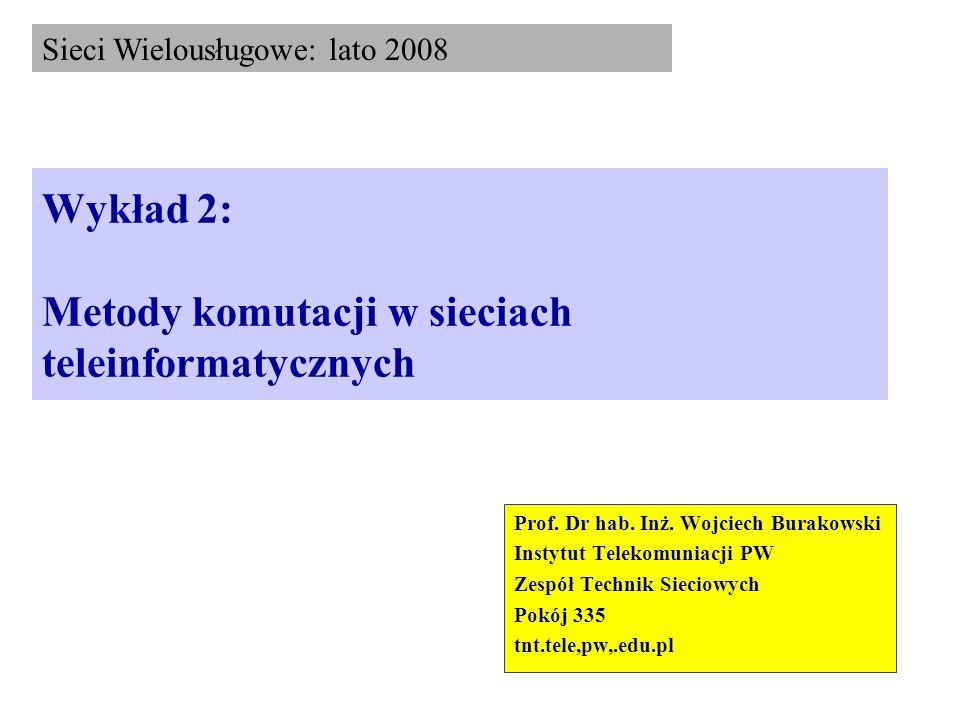 Wykład 2: Metody komutacji w sieciach teleinformatycznych Prof. Dr hab. Inż. Wojciech Burakowski Instytut Telekomuniacji PW Zespół Technik Sieciowych