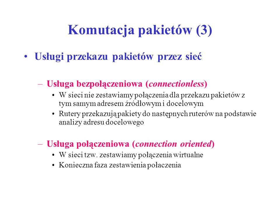 Komutacja pakietów (3) Usługi przekazu pakietów przez sieć –Usługa bezpołączeniowa (connectionless) W sieci nie zestawiamy połączenia dla przekazu pak