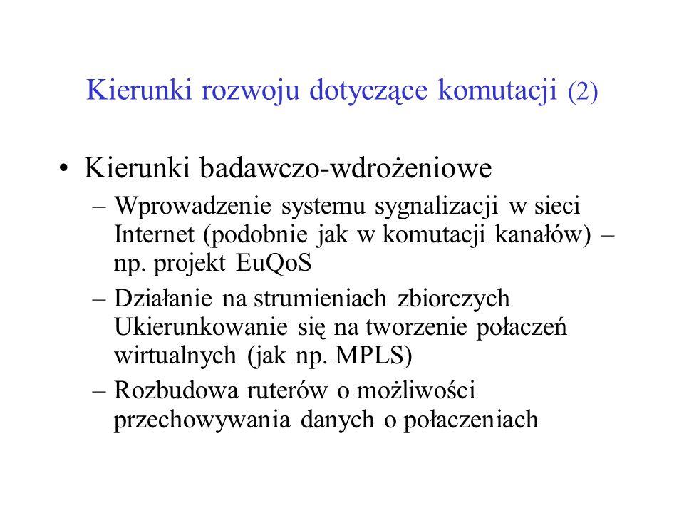 Kierunki rozwoju dotyczące komutacji (2) Kierunki badawczo-wdrożeniowe –Wprowadzenie systemu sygnalizacji w sieci Internet (podobnie jak w komutacji k