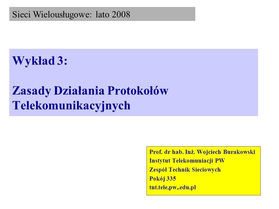 Wykład 3: Zasady Działania Protokołów Telekomunikacyjnych Prof. dr hab. Inż. Wojciech Burakowski Instytut Telekomuniacji PW Zespół Technik Sieciowych