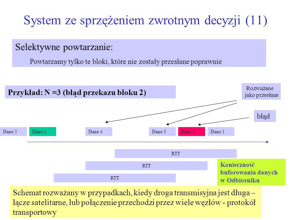 System ze sprzężeniem zwrotnym decyzji (11) Selektywne powtarzanie: Powtarzamy tylko te bloki, które nie zostały przesłane poprawnie Przykład: N =3 (b
