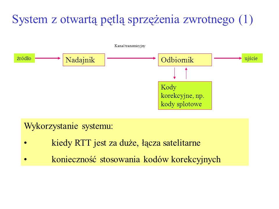 System z otwartą pętlą sprzężenia zwrotnego (1) NadajnikOdbiornik źródłoujście Kanał transmisyjny Kody korekcyjne, np. kody splotowe Wykorzystanie sys