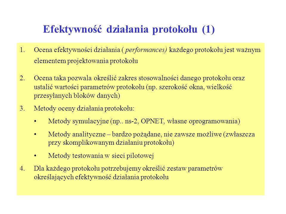 Efektywność działania protokołu (1) 1.Ocena efektywności działania ( performances ) każdego protokołu jest ważnym elementem projektowania protokołu 2.