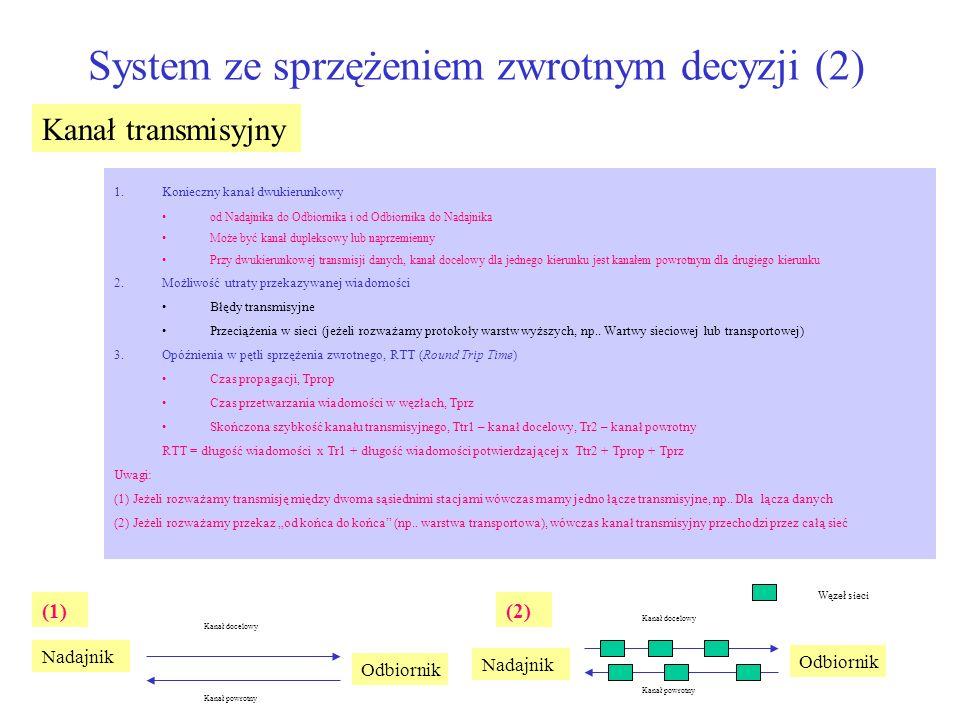 System ze sprzężeniem zwrotnym decyzji (2) Kanał transmisyjny 1.Konieczny kanał dwukierunkowy od Nadajnika do Odbiornika i od Odbiornika do Nadajnika