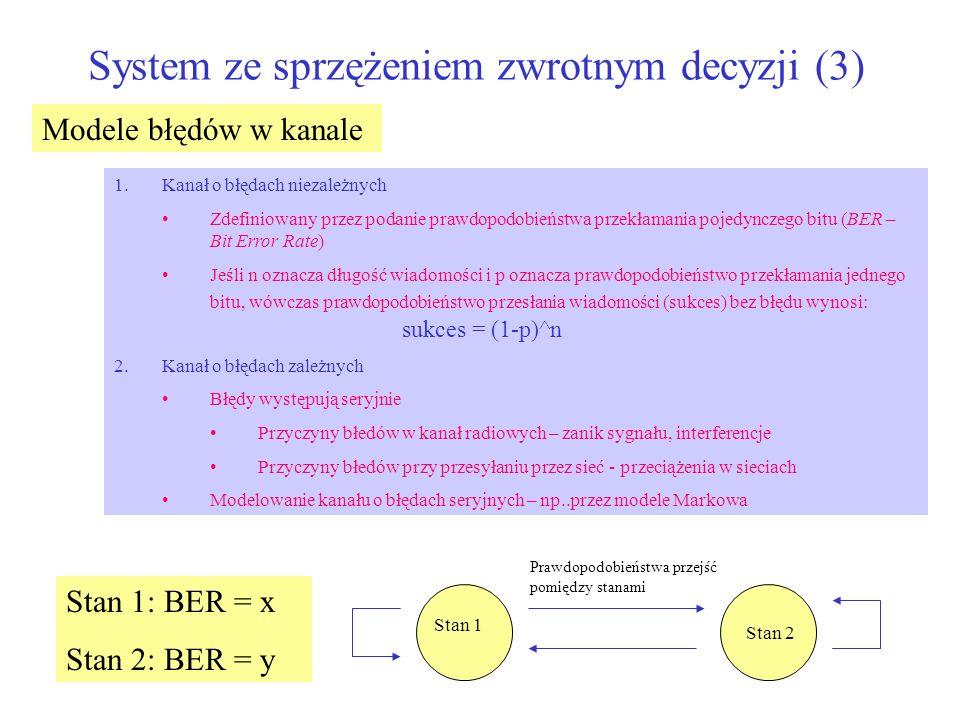 System ze sprzężeniem zwrotnym decyzji (3) Modele błędów w kanale 1.Kanał o błędach niezależnych Zdefiniowany przez podanie prawdopodobieństwa przekła