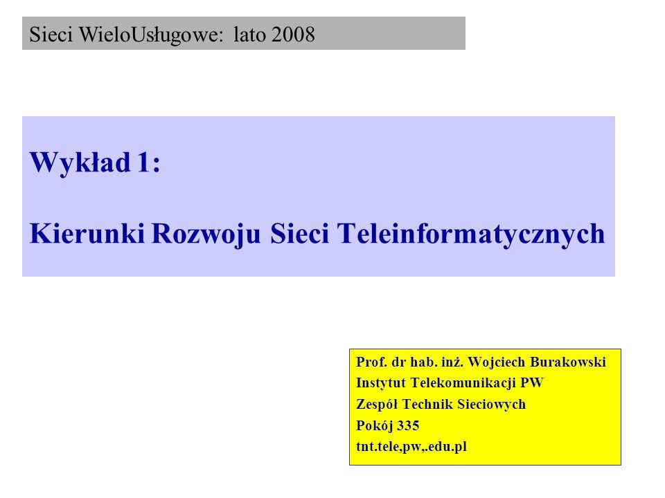 Wykład 1: Kierunki Rozwoju Sieci Teleinformatycznych Prof. dr hab. inż. Wojciech Burakowski Instytut Telekomunikacji PW Zespół Technik Sieciowych Pokó