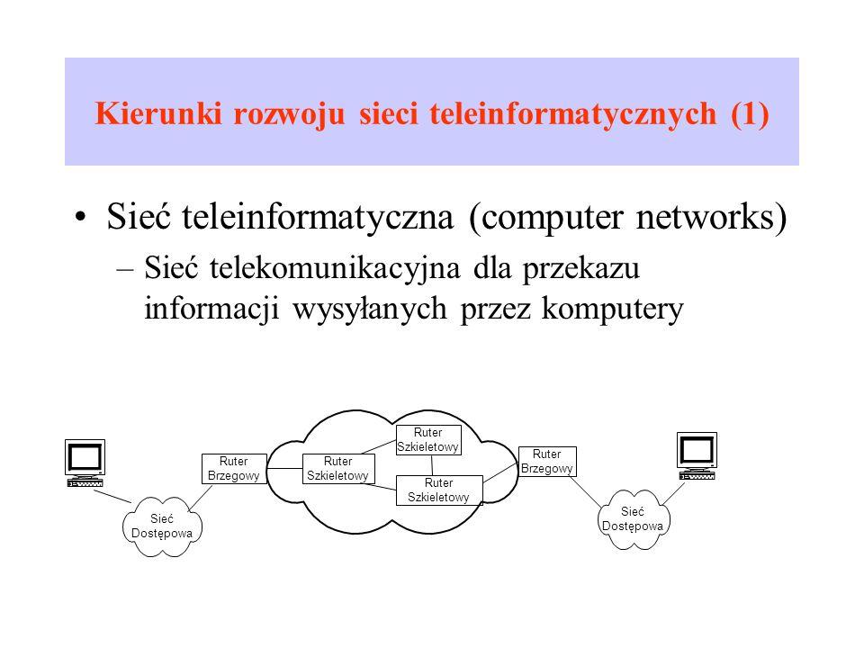 Kierunki rozwoju sieci teleinformatycznych (1) Sieć teleinformatyczna (computer networks) –Sieć telekomunikacyjna dla przekazu informacji wysyłanych p