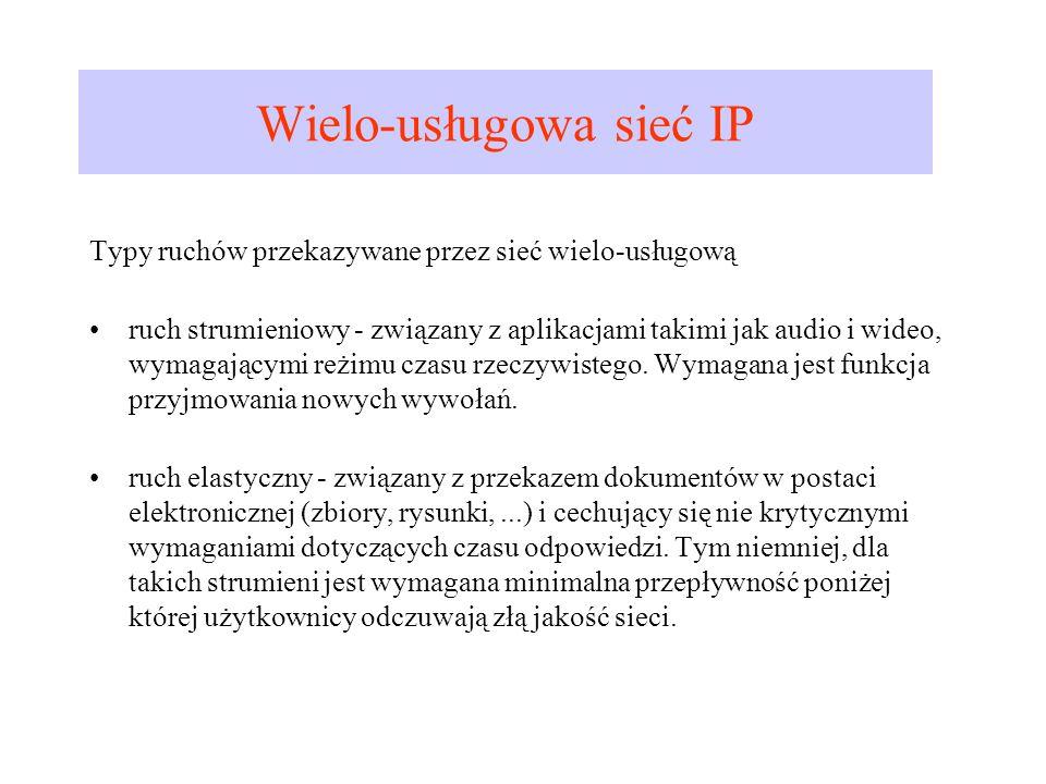 Wielo-usługowa sieć IP Typy ruchów przekazywane przez sieć wielo-usługową ruch strumieniowy - związany z aplikacjami takimi jak audio i wideo, wymagaj
