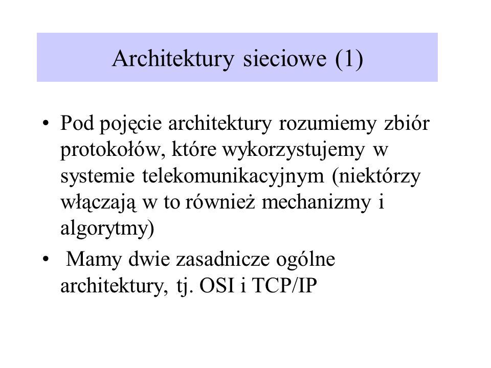 Architektury sieciowe (1) Pod pojęcie architektury rozumiemy zbiór protokołów, które wykorzystujemy w systemie telekomunikacyjnym (niektórzy włączają