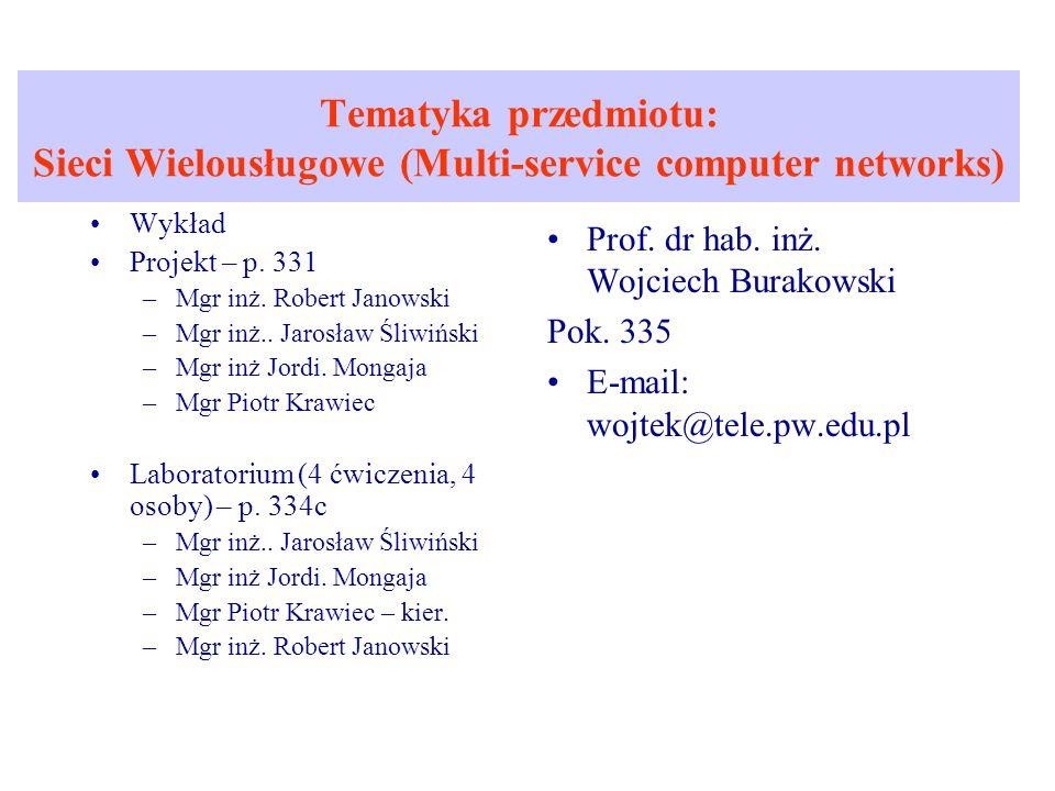 Tematyka przedmiotu: Sieci Wielousługowe (Multi-service computer networks) Wykład Projekt – p. 331 –Mgr inż. Robert Janowski –Mgr inż.. Jarosław Śliwi