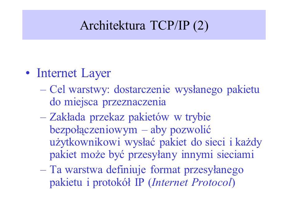 Internet Layer –Cel warstwy: dostarczenie wysłanego pakietu do miejsca przeznaczenia –Zakłada przekaz pakietów w trybie bezpołączeniowym – aby pozwoli