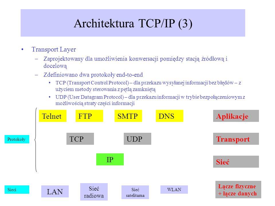 Transport Layer –Zaprojektowany dla umożliwienia konwersacji pomiędzy stacją źródłową i docelową –Zdefiniowano dwa protokoły end-to-end TCP (Transport