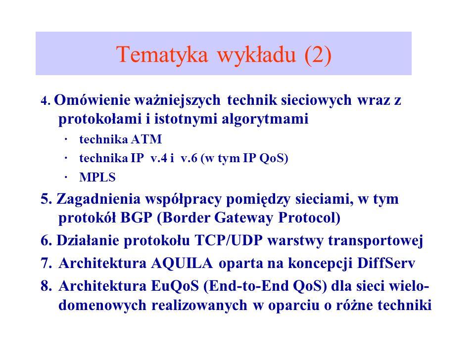 Tematyka wykładu (2) 4. Omówienie ważniejszych technik sieciowych wraz z protokołami i istotnymi algorytmami ·technika ATM ·technika IP v.4 i v.6 (w t
