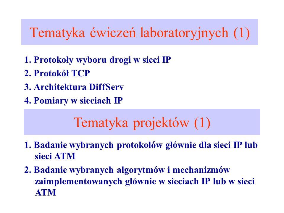Tematyka ćwiczeń laboratoryjnych (1) 1. Protokoły wyboru drogi w sieci IP 2. Protokół TCP 3. Architektura DiffServ 4. Pomiary w sieciach IP Tematyka p