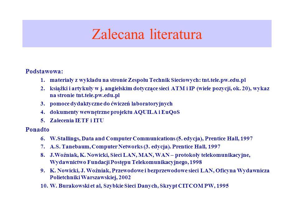 Zalecana literatura Podstawowa: 1.materiały z wykładu na stronie Zespołu Technik Sieciowych: tnt.tele.pw.edu.pl 2.książki i artykuły w j. angielskim d