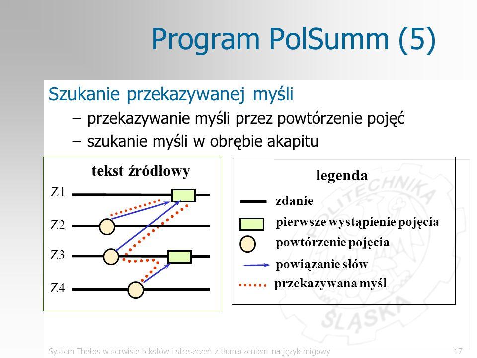 System Thetos w serwisie tekstów i streszczeń z tłumaczeniem na język migowy17 Program PolSumm (5) Szukanie przekazywanej myśli –przekazywanie myśli p