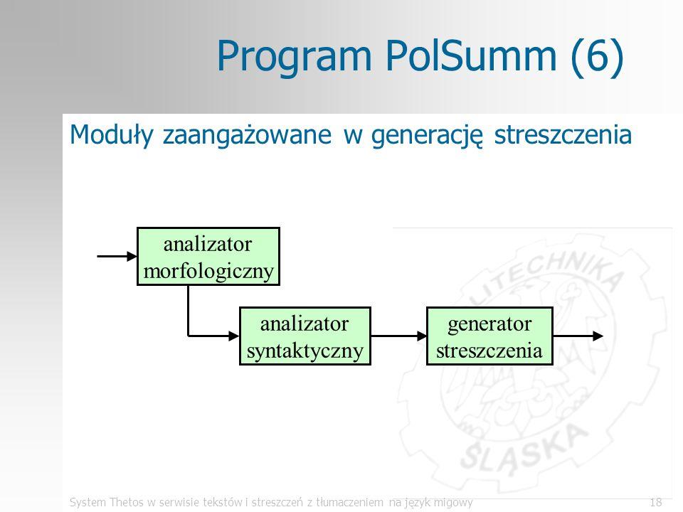 System Thetos w serwisie tekstów i streszczeń z tłumaczeniem na język migowy18 Program PolSumm (6) Moduły zaangażowane w generację streszczenia analiz