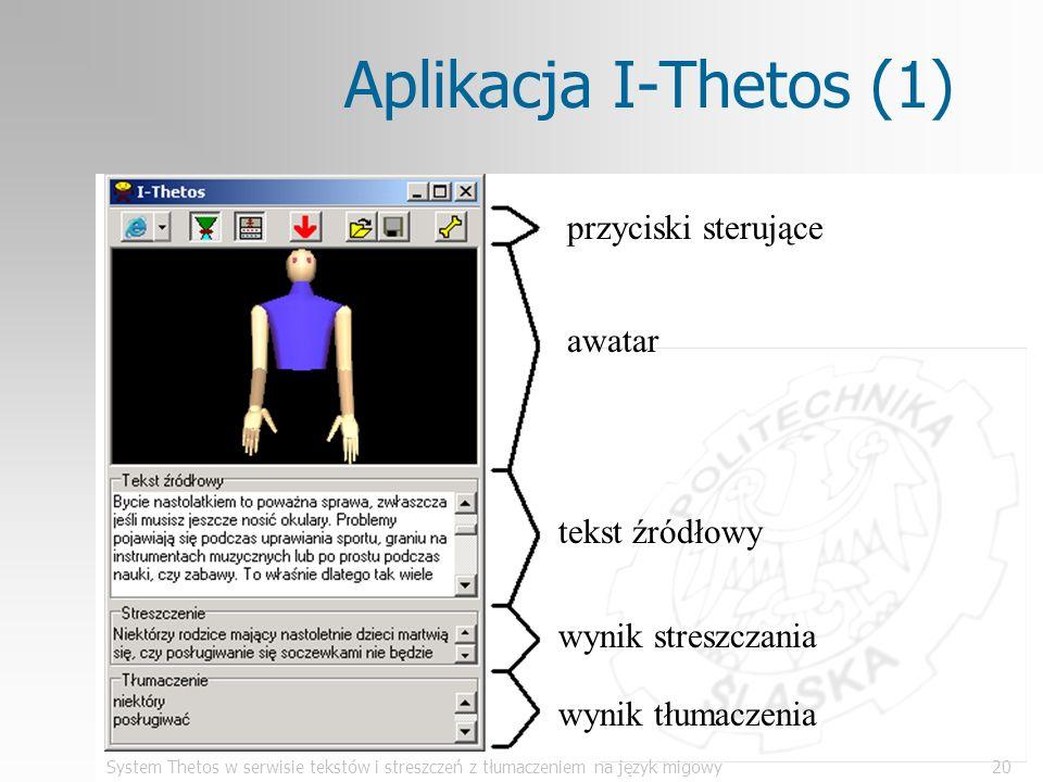 System Thetos w serwisie tekstów i streszczeń z tłumaczeniem na język migowy20 Aplikacja I-Thetos (1) przyciski sterujące awatar tekst źródłowy wynik