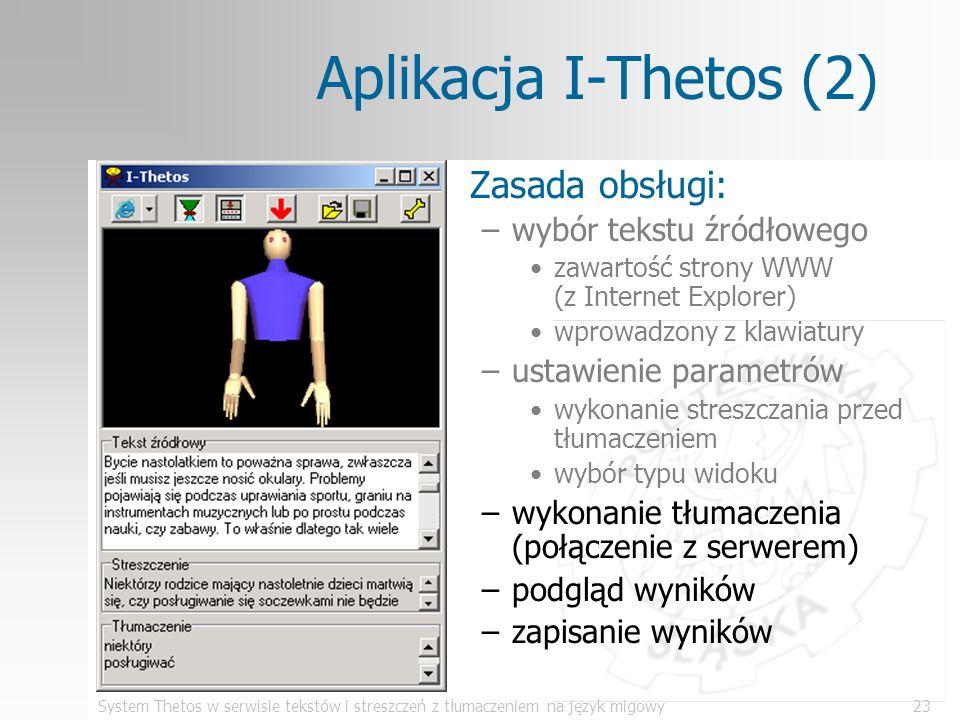 System Thetos w serwisie tekstów i streszczeń z tłumaczeniem na język migowy23 Aplikacja I-Thetos (2) Zasada obsługi: –wybór tekstu źródłowego zawarto