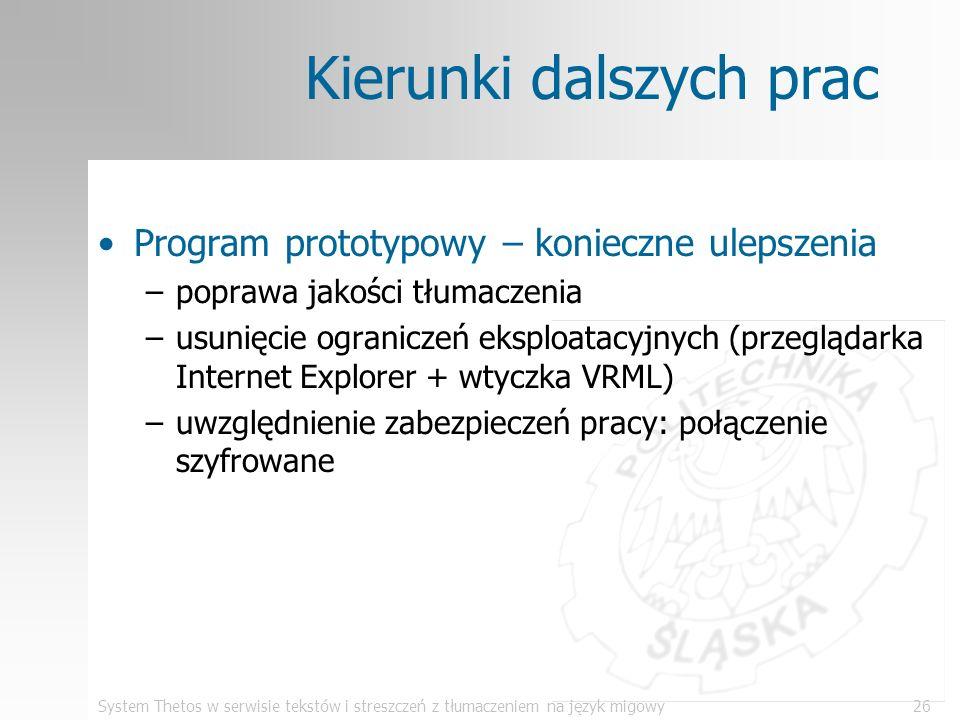 System Thetos w serwisie tekstów i streszczeń z tłumaczeniem na język migowy26 Kierunki dalszych prac Program prototypowy – konieczne ulepszenia –popr
