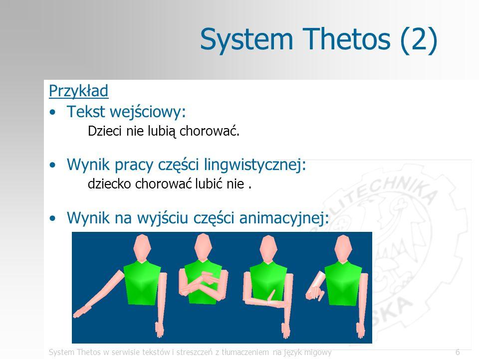 System Thetos w serwisie tekstów i streszczeń z tłumaczeniem na język migowy17 Program PolSumm (5) Szukanie przekazywanej myśli –przekazywanie myśli przez powtórzenie pojęć –szukanie myśli w obrębie akapitu legenda zdanie pierwsze wystąpienie pojęcia powtórzenie pojęcia powiązanie słów przekazywana myśl tekst źródłowy Z1 Z2 Z3 Z4