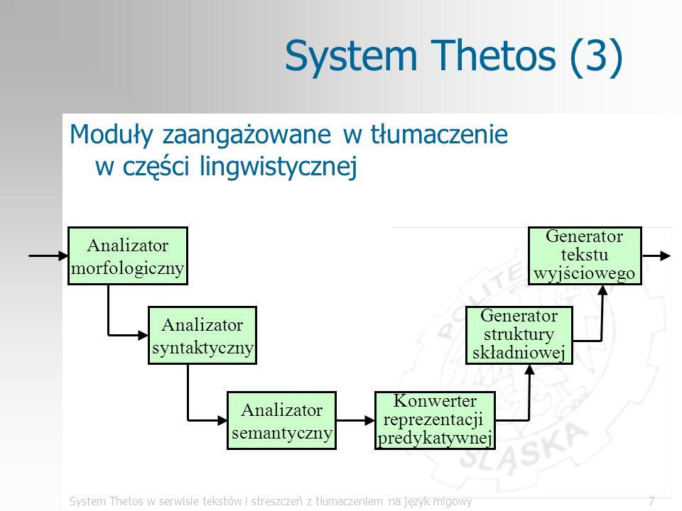 System Thetos w serwisie tekstów i streszczeń z tłumaczeniem na język migowy18 Program PolSumm (6) Moduły zaangażowane w generację streszczenia analizator morfologiczny analizator syntaktyczny generator streszczenia