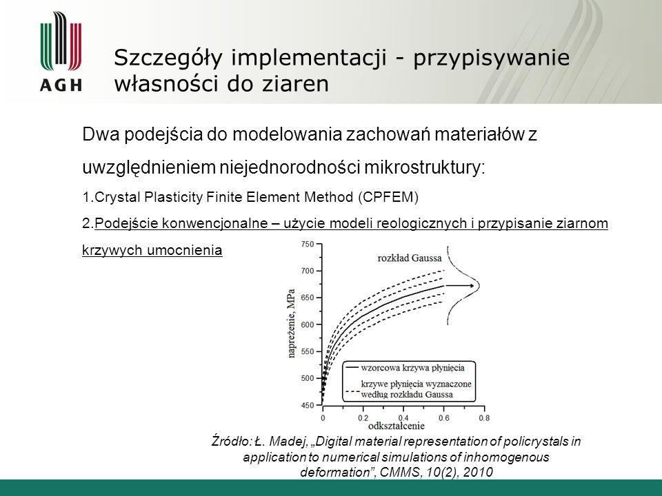 Szczegóły implementacji - przypisywanie własności do ziaren Dwa podejścia do modelowania zachowań materiałów z uwzględnieniem niejednorodności mikrost