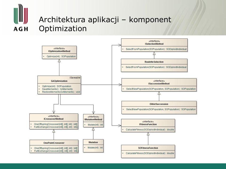 Architektura aplikacji – komponent Optimization Zadania: Optymalizacja rozkładu i/lub własności ziaren w próbce. Realizacja Implementacja algorytmu ge