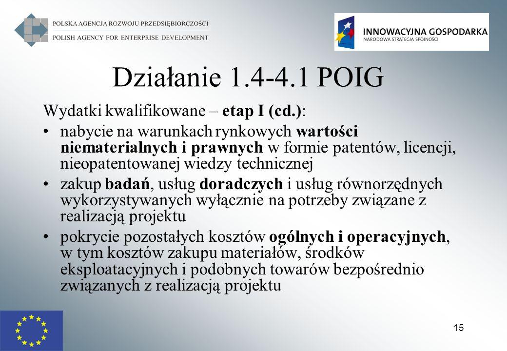 15 Działanie 1.4-4.1 POIG Wydatki kwalifikowane – etap I (cd.): nabycie na warunkach rynkowych wartości niematerialnych i prawnych w formie patentów,
