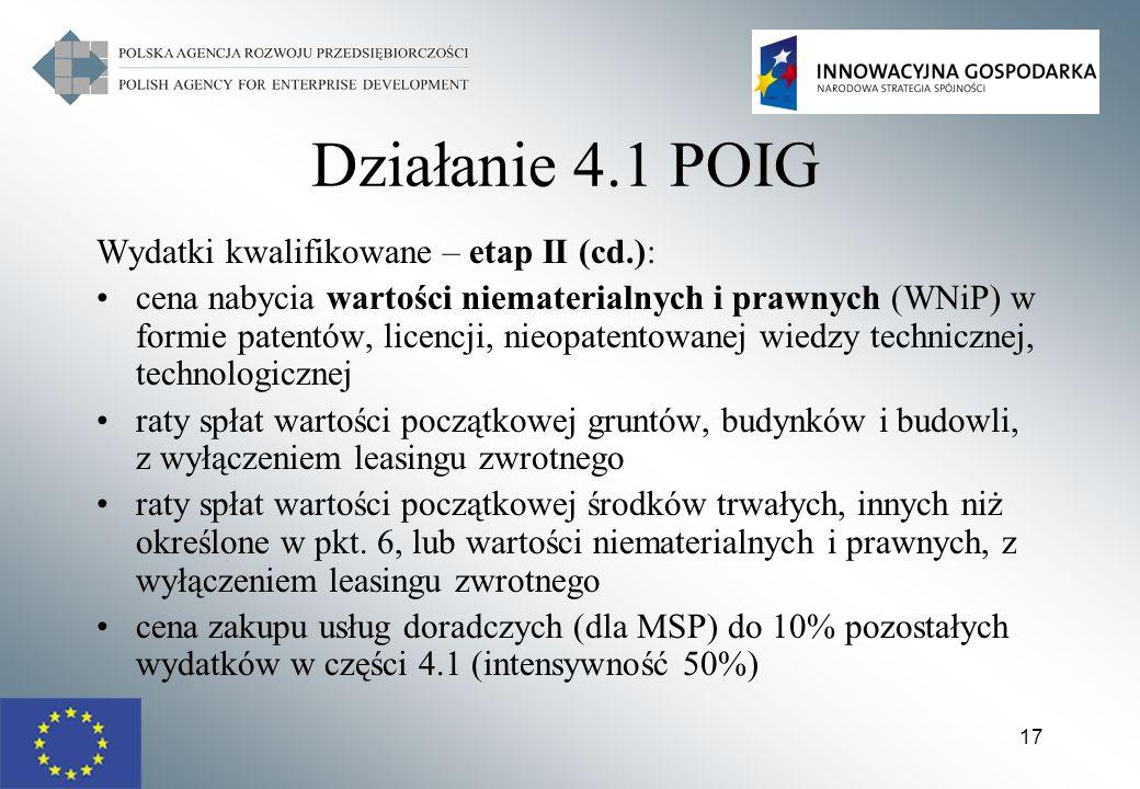 17 Działanie 4.1 POIG Wydatki kwalifikowane – etap II (cd.): cena nabycia wartości niematerialnych i prawnych (WNiP) w formie patentów, licencji, nieo