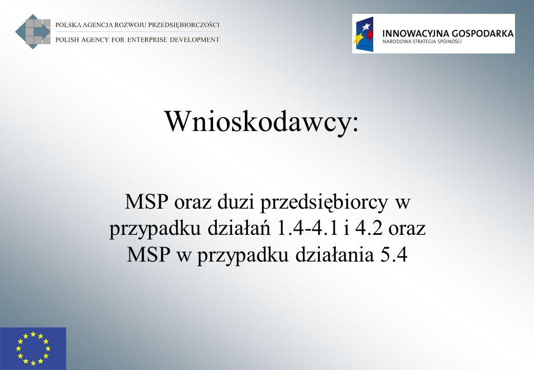 13 Działanie 4.1 POIG WOJEWÓDZTWA PRZEDSIĘBIORSTWA Mikro-, mali przedsiębiorcy Średni przedsiębiorcy Inni przedsiębiorcy Miasto stołeczne Warszawa50%40%30% Dolnośląskie, Mazowieckie, Pomorskie, Śląskie, Wielkopolskie, Zachodniopomorskie 60%50%40% Kujawsko – Pomorskie, Lubelskie, Lubuskie, Łódzkie, Małopolskie, Opolskie, Podkarpackie, Podlaskie, Świętokrzyskie, Warmińsko – Mazurskie 70%60%50%
