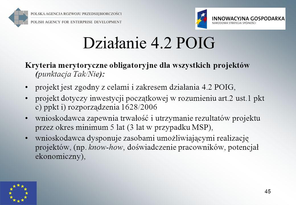 45 Działanie 4.2 POIG Kryteria merytoryczne obligatoryjne dla wszystkich projektów (punktacja Tak/Nie): projekt jest zgodny z celami i zakresem działa