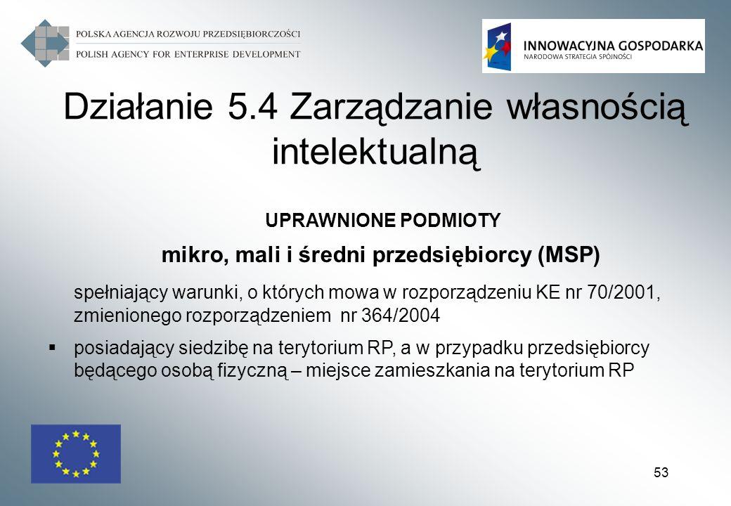 53 UPRAWNIONE PODMIOTY mikro, mali i średni przedsiębiorcy (MSP) spełniający warunki, o których mowa w rozporządzeniu KE nr 70/2001, zmienionego rozpo