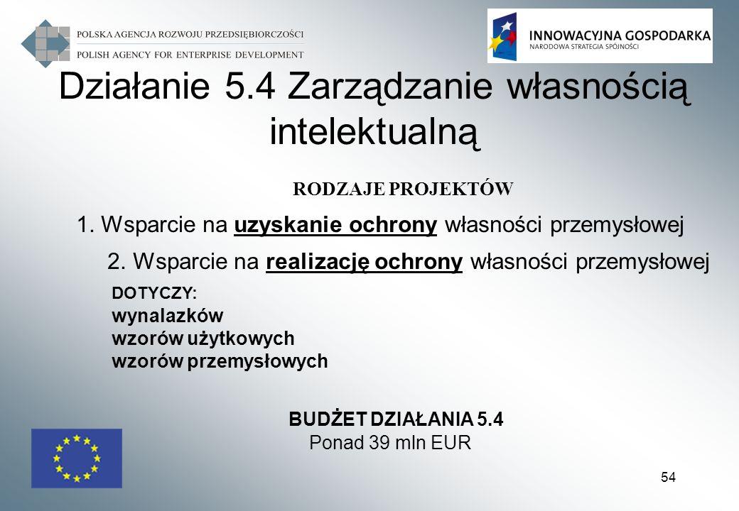 54 RODZAJE PROJEKTÓW 1. Wsparcie na uzyskanie ochrony własności przemysłowej 2. Wsparcie na realizację ochrony własności przemysłowej DOTYCZY: wynalaz