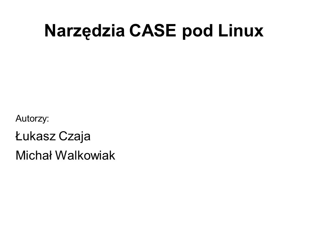 Umbrello – ocena Zalety: - ogromny wybór języków, w których generowany jest kod - prosty i jednocześnie przejrzysty interfejs użytkownika - system podpowiedzi dla użytkownika - możliwość importu kodu - dość rozbudowane opcje konfiguracyjne Wady: - konieczność posiadania środowiska KDE