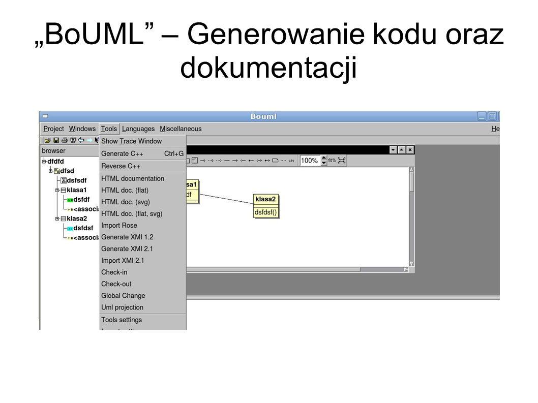 BoUML – menu kontekstowe, właściwości