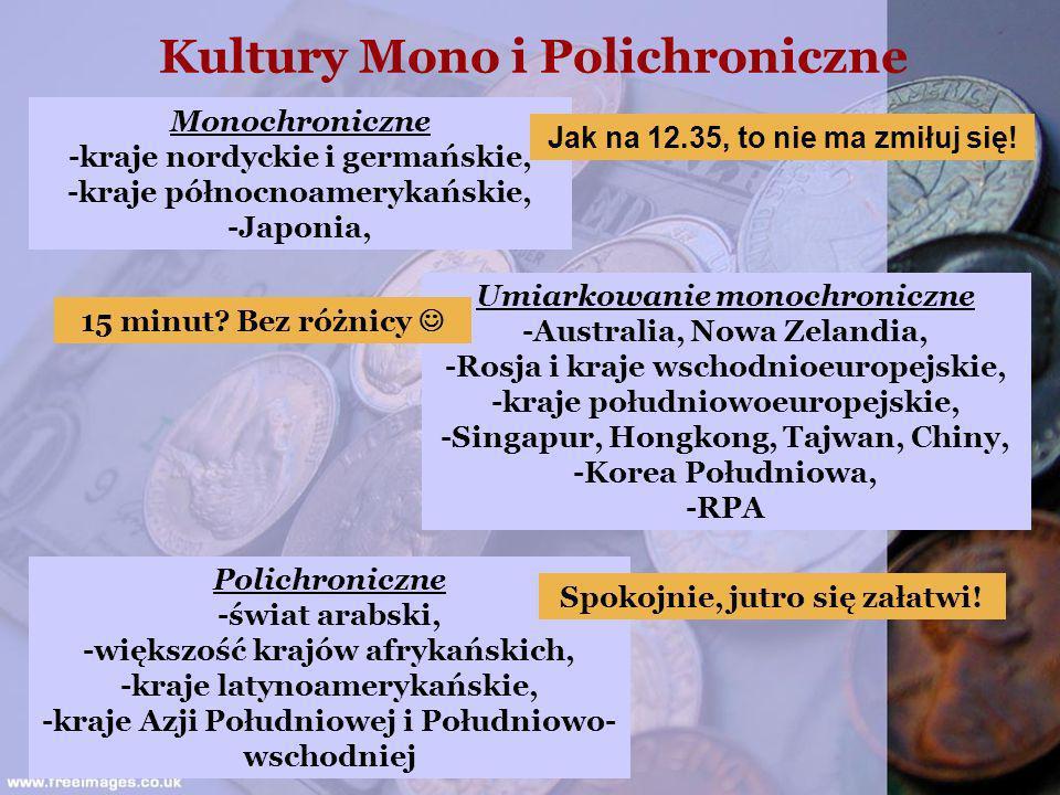 Kultury Mono i Polichroniczne Monochroniczne -kraje nordyckie i germańskie, -kraje północnoamerykańskie, -Japonia, Umiarkowanie monochroniczne -Austra