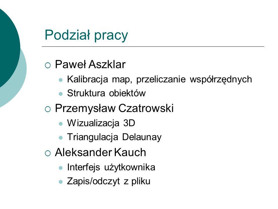 Podział pracy Paweł Aszklar Kalibracja map, przeliczanie współrzędnych Struktura obiektów Przemysław Czatrowski Wizualizacja 3D Triangulacja Delaunay