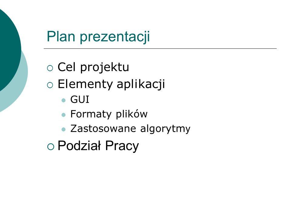 Plan prezentacji Cel projektu Elementy aplikacji GUI Formaty plików Zastosowane algorytm y Podział Pracy