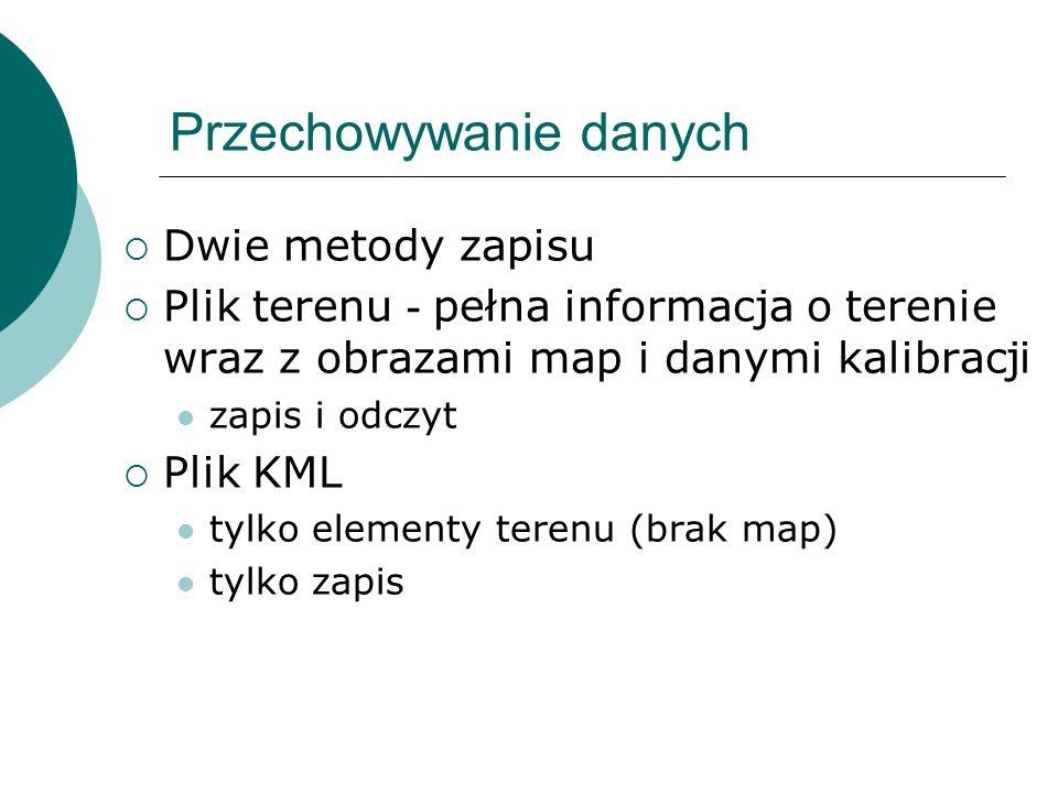 Przechowywanie danych Dwie metody zapisu Plik terenu - pełna informacja o terenie wraz z obrazami map i danymi kalibracji zapis i odczyt Plik KML tylk