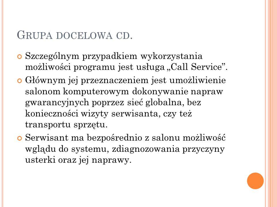 G RUPA DOCELOWA CD. Szczególnym przypadkiem wykorzystania możliwości programu jest usługa Call Service. Głównym jej przeznaczeniem jest umożliwienie s