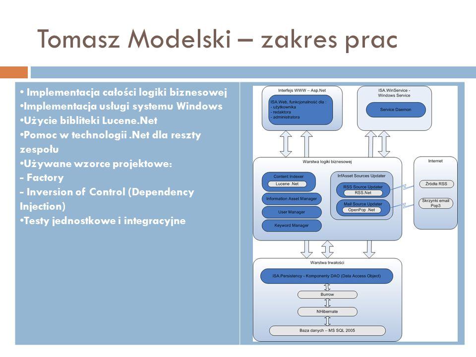 Tomasz Modelski – zakres prac Implementacja całości logiki biznesowej Implementacja usługi systemu Windows Użycie bibliteki Lucene.Net Pomoc w technol