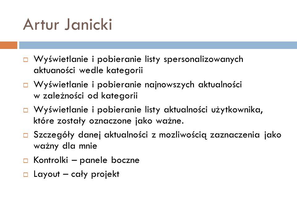 Artur Janicki Wyświetlanie i pobieranie listy spersonalizowanych aktuaności wedle kategorii Wyświetlanie i pobieranie najnowszych aktualności w zależn