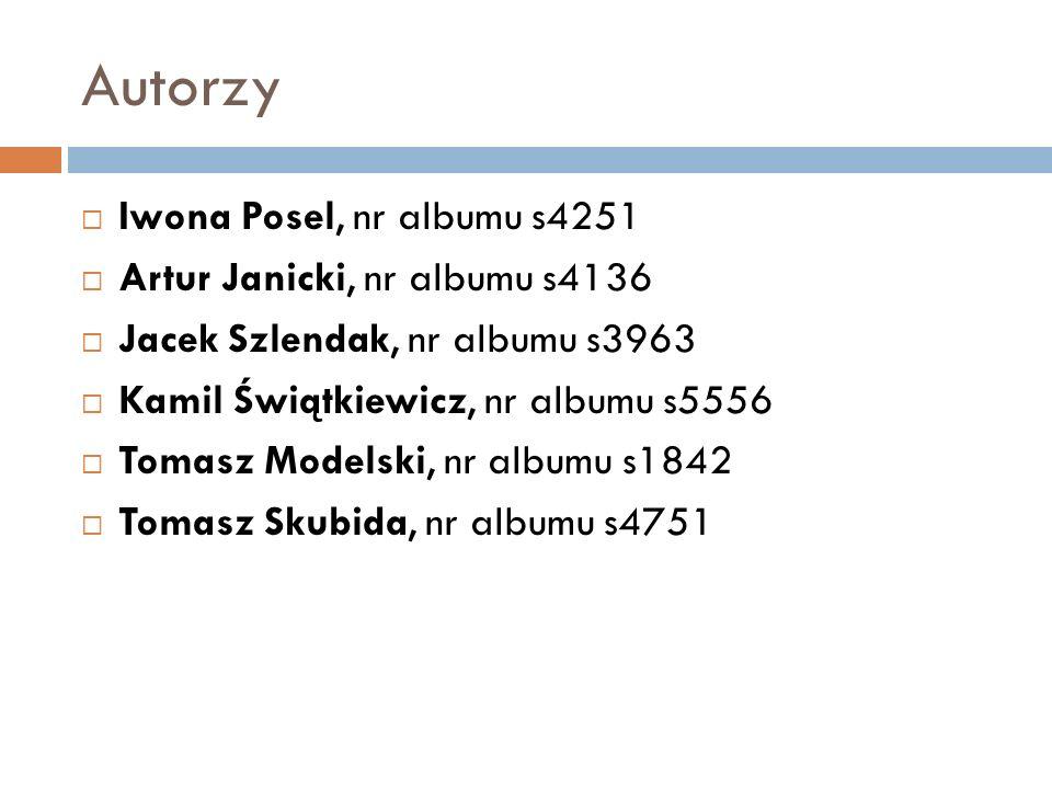 Autorzy Iwona Posel, nr albumu s4251 Artur Janicki, nr albumu s4136 Jacek Szlendak, nr albumu s3963 Kamil Świątkiewicz, nr albumu s5556 Tomasz Modelsk
