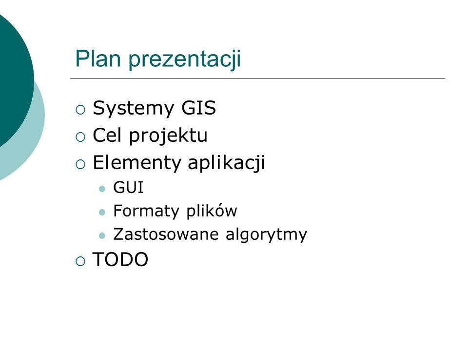 Plan prezentacji Systemy GIS Cel projektu Elementy aplikacji GUI Formaty plików Zastosowane algorytmy TODO