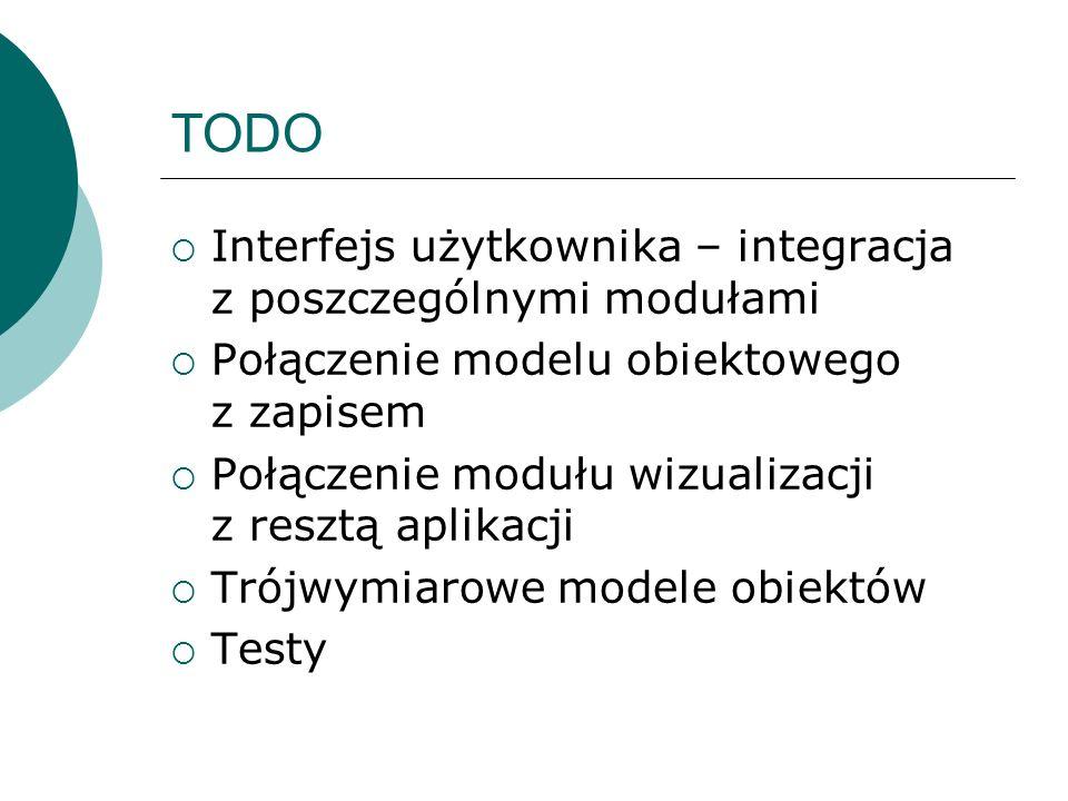 TODO Interfejs użytkownika – integracja z poszczególnymi modułami Połączenie modelu obiektowego z zapisem Połączenie modułu wizualizacji z resztą apli
