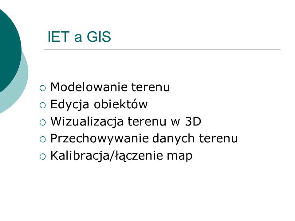IET a GIS Modelowanie terenu Edycja obiektów Wizualizacja terenu w 3D Przechowywanie danych terenu Kalibracja/łączenie map