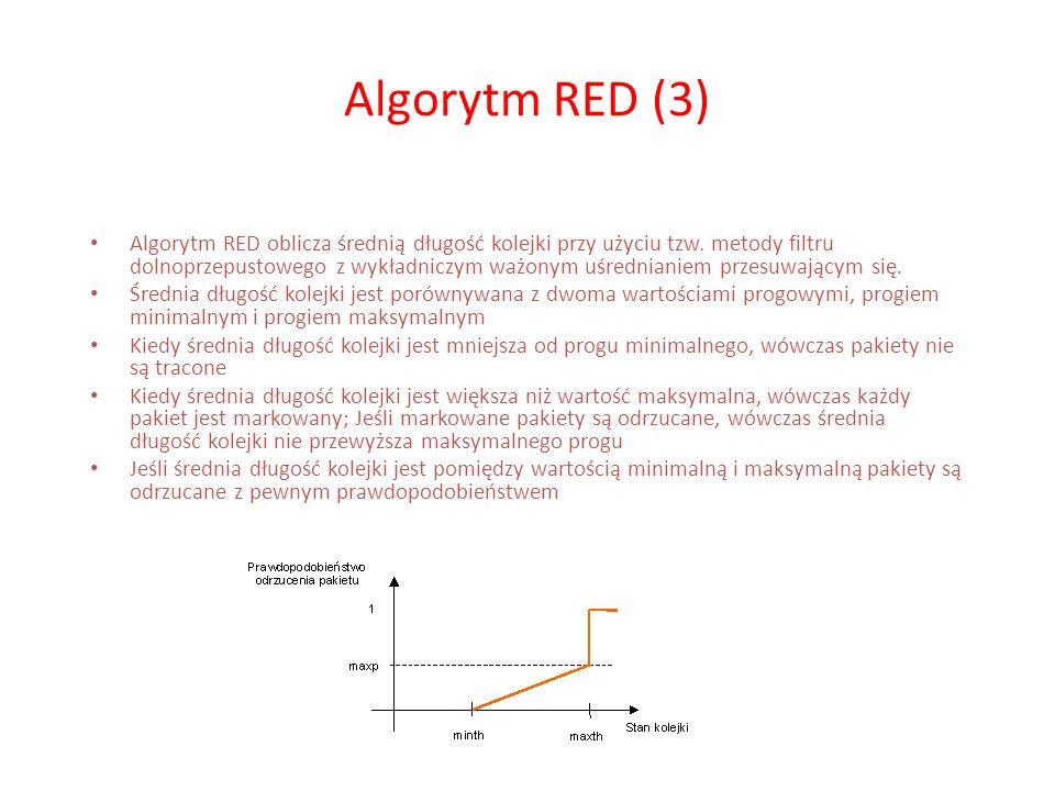 Algorytm RED (3) Algorytm RED oblicza średnią długość kolejki przy użyciu tzw. metody filtru dolnoprzepustowego z wykładniczym ważonym uśrednianiem pr